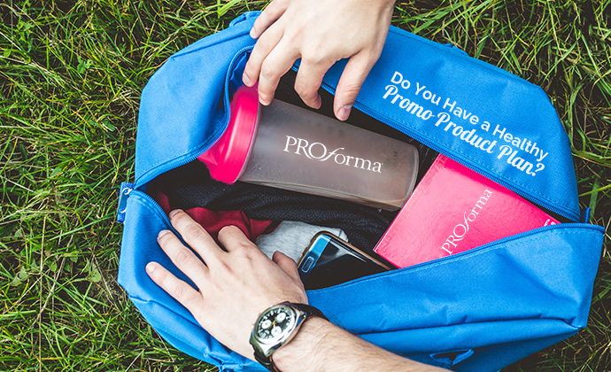 health and wellness promo products in gym bag